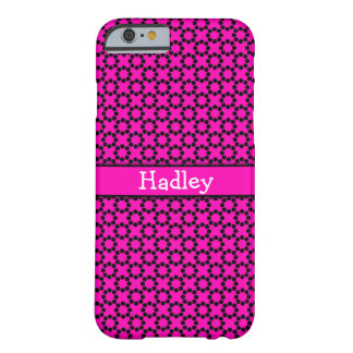 Black Retro Dotted Circles Over Neon Hot Pink Barely There iPhone 6 Case