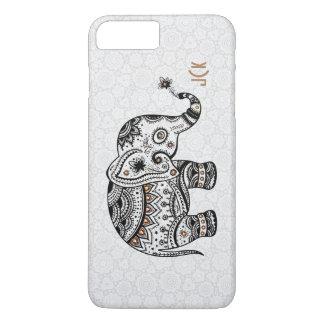 Black Retro Flowers & Elephant Brown Diamonds iPhone 7 Plus Case