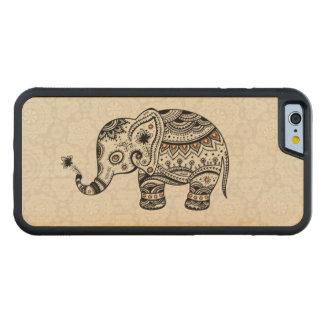 Black Retro Flowers & Elephant Brown Diamonds Maple iPhone 6 Bumper
