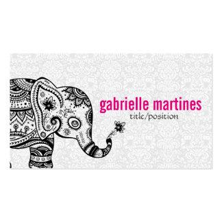 Black Retro Flowers & Elephant White Diamonds Business Card