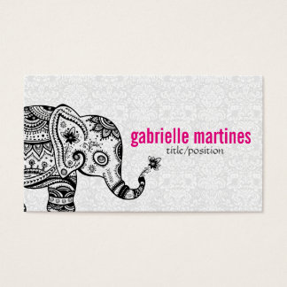 Black Retro Flowers & Elephant White Diamonds Business Card