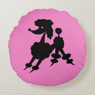 Black Retro French Poodle on Pink Round Pillow
