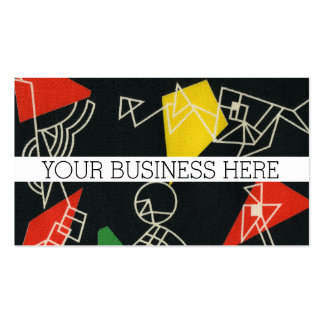 Black Retro Geometric 1950's Red Yellow Pattern Pack Of Standard Business Cards