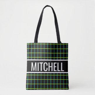 Black Retro Grid Personalized Tote Bag