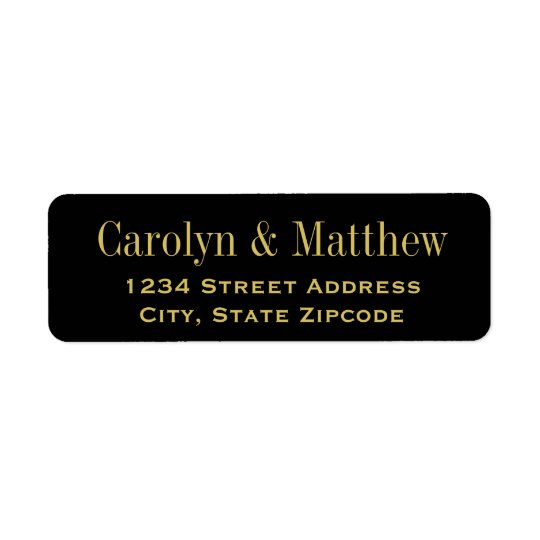 Black Return Address Label | Gold