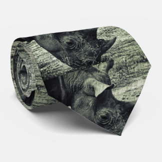 Black Rhino Grazing, Grunge, Monochrome Tie