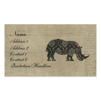 Black Rhinoceroses Silhouette Business Card/Tags