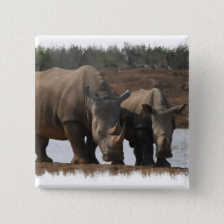 Black Rhinos Square Pin