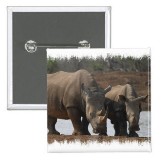 Black Rhinos Square Pin
