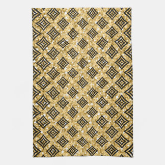 Black Rhomboid Pattern Gold Glitter Kitchen Towel