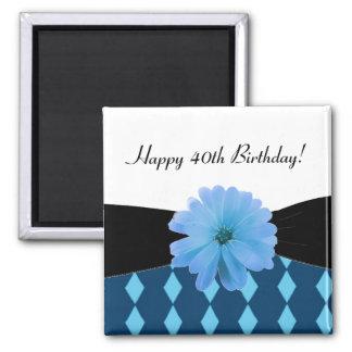 Black Ribbon Blue Flower 40th Birthday Square Magnet