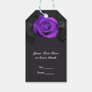 Black Ribbon Bow & Purple Rose ANY COLOR Favor Gift Tags