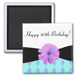 Black Ribbon Purple Flower 40th Birthday Square Magnet