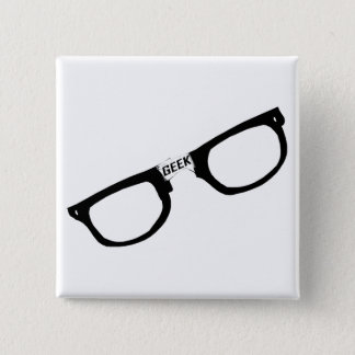 Black Rimmed Geek Glasses 2 Inch Square Button