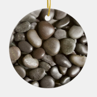 Black River Rock Nature Zen Pebble Ceramic Ornament