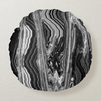 Black Rock Brushed Polyester Round Throw Pillow