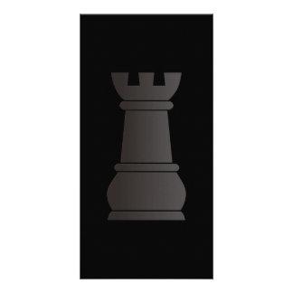 Black rock chess piece photo card template