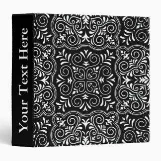 Black Rococo Pattern Flourish 3 Ring Binders