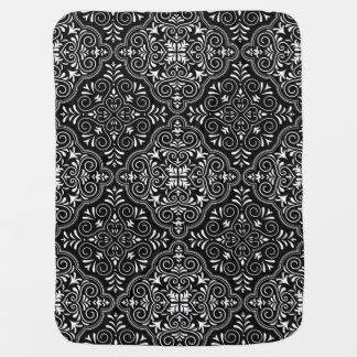 Black Rococo Pattern Flourish Baby Blanket
