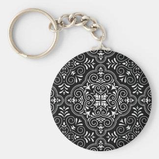 Black Rococo Pattern Flourish Basic Round Button Keychain