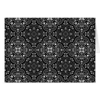 Black Rococo Pattern Flourish Card