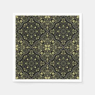 Black Rococo Pattern Flourish Disposable Napkins