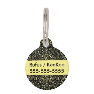 Black Rococo Pattern Flourish Pet Tag