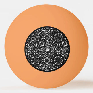 Black Rococo Pattern Flourish Ping Pong Ball