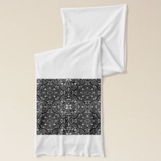 Black Rococo Pattern Flourish Scarf