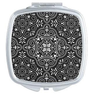 Black Rococo Pattern Flourish Travel Mirrors