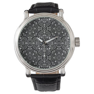 Black Rococo Pattern Flourish Watch