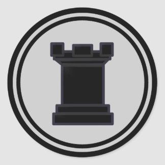 Black Rook Chess Piece Round Sticker
