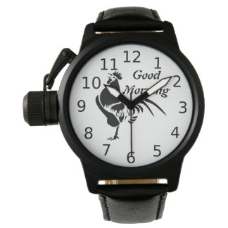 Black Rooster Crowing the Good Morning Alarm Watch