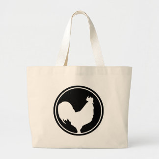 black rooster icon large tote bag