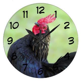 Black Rooster Large Clock