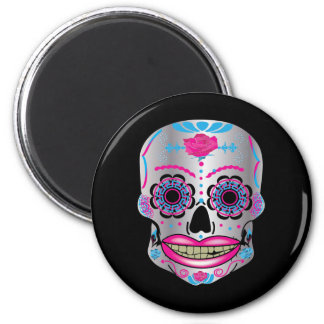 Black Rose Candy Skull Round Magnet
