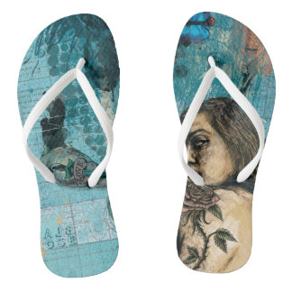 Black Rose Contemporary Design Flip Flops