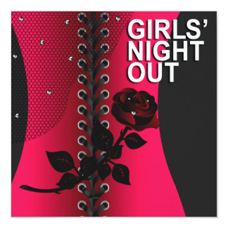 Black Rose Corset Girls Night Out   coral Card