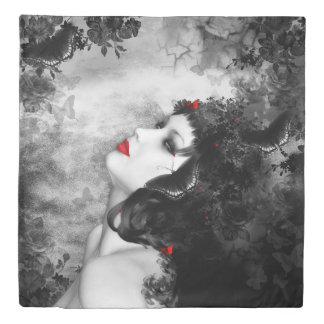 Black Rose Fantasy (1 side) Queen Duvet Cover