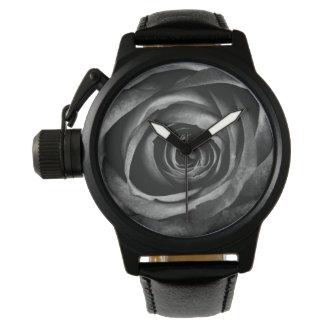 Black Rose Flower Floral Decorative Vintage Watch