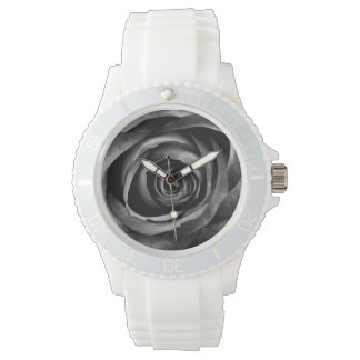 Black Rose Flower Floral Decorative Vintage Wrist Watch