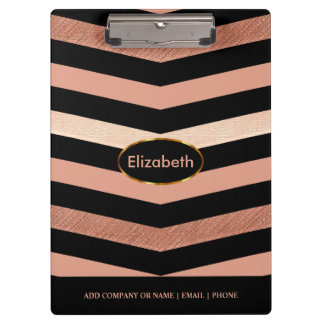 Black & Rose Gold Chevron Design Clipboard