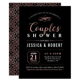Black, Rose Gold Couples Wedding Shower Invitation