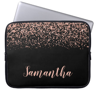 Black Rose Gold Faux Glitter Personalized Laptop Sleeve
