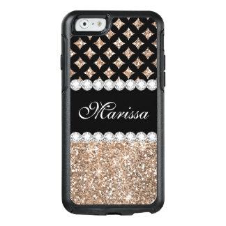 Black Rose Gold Glitter Otterbox iPhone 6/6s Case