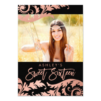 Black Rose Gold Swirls Photo Sweet 16 Invitations