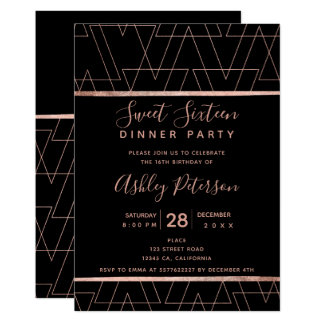 Black rose gold triangles typography Sweet 16 Card