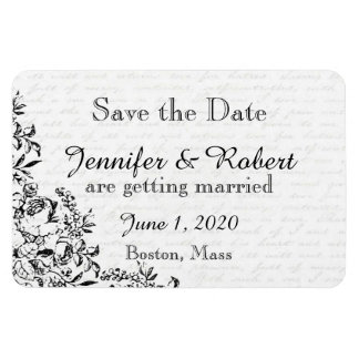 Black Rose Love Letter Wedding Save the Date Rectangular Magnet