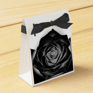 Black Rose on White Favor Box