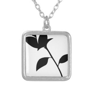 Black Rose Silver Plated Necklace
